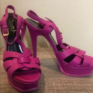 YSL electric pink heels.